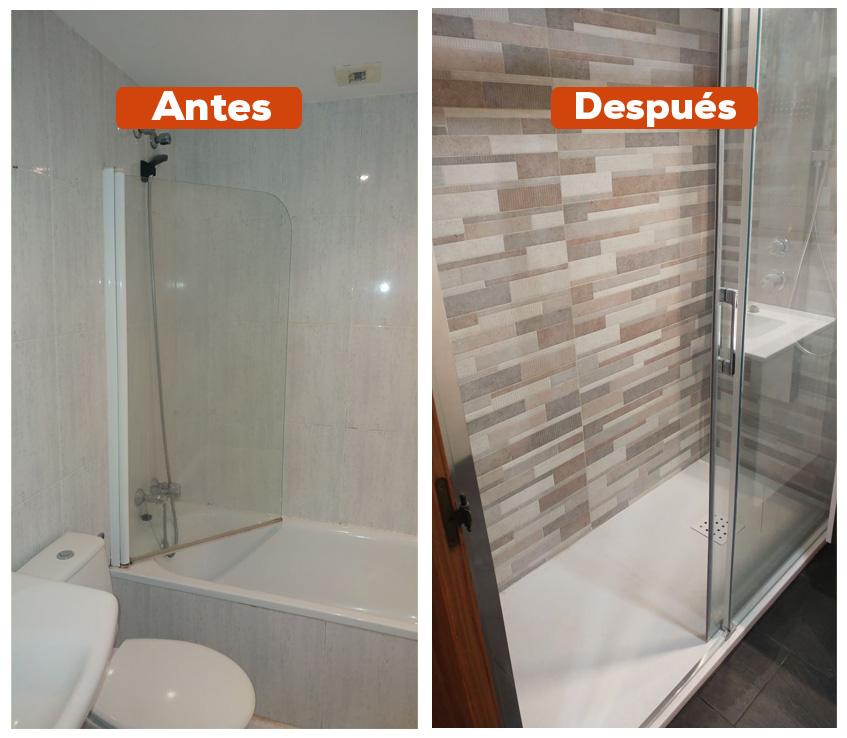 Antes y después de cambio de bañera por plato de ducha en San Sebastián-Donostia. La clave de esta reforma integral para que tner un baño renovado y con estilo